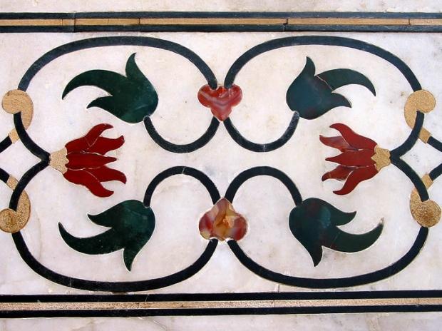 inlaid flower detail Taj Mahal