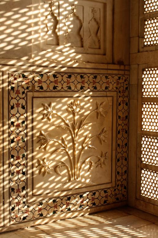 Marble Flowers Taj Mahal interior detail