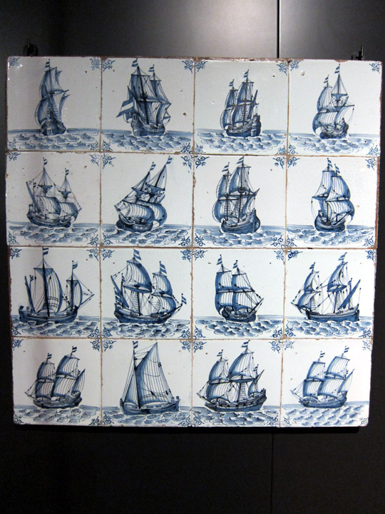 Delft tiles with ships