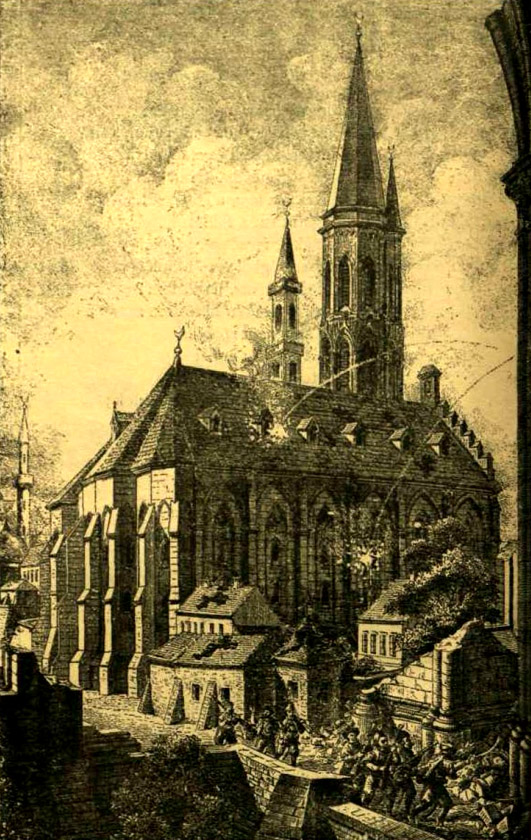 Drawing from 1686 showing the Matthias Church in use as a mosque.
