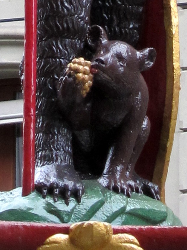 Bear with grapes detail from the Warrior Bear Fountain