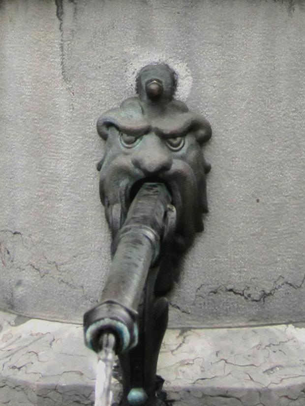 Ogre fountain spout detail