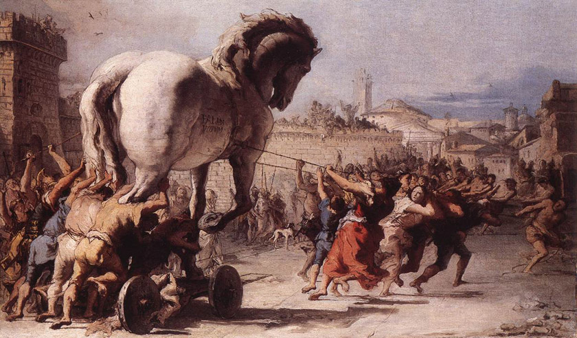 "Giovanni Domenico Tiepolo, ""The Procession of the Trojan Horse in Troy"""