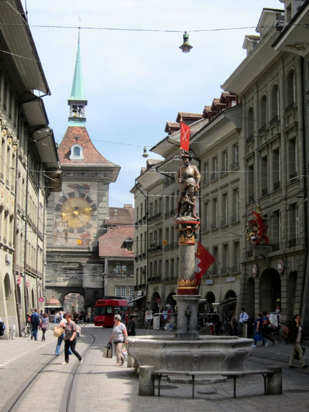 Bern old town and fountain