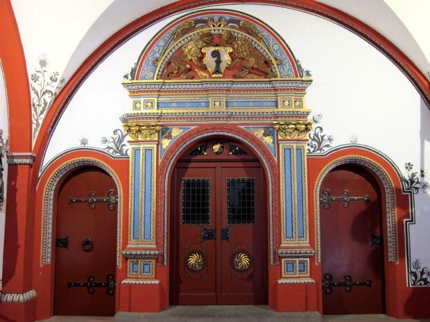 Back portico lobby doors