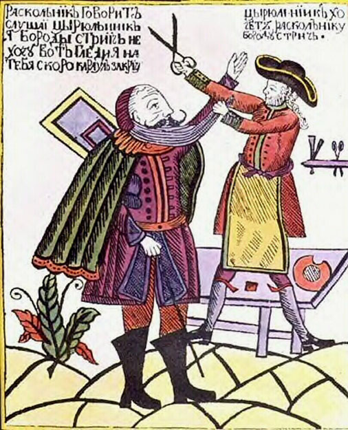 peter the great shaving the beard of an old believer