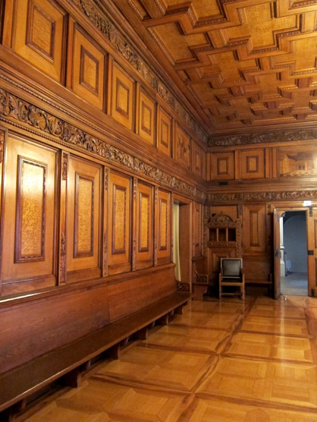 Wood paneled reception hall, Basel, Switzerland