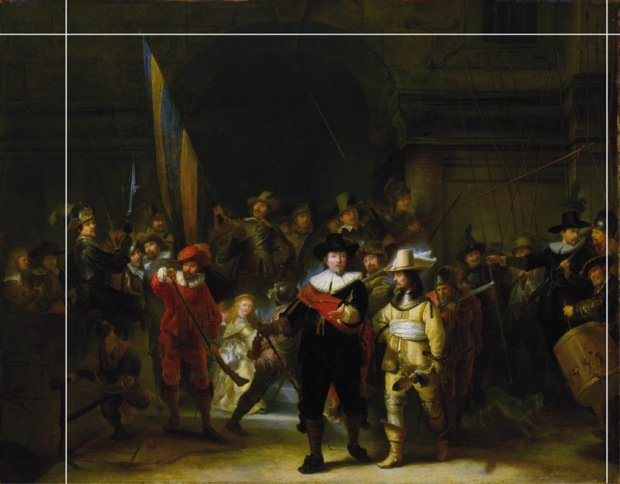 Rembrandt - the night watch cut down