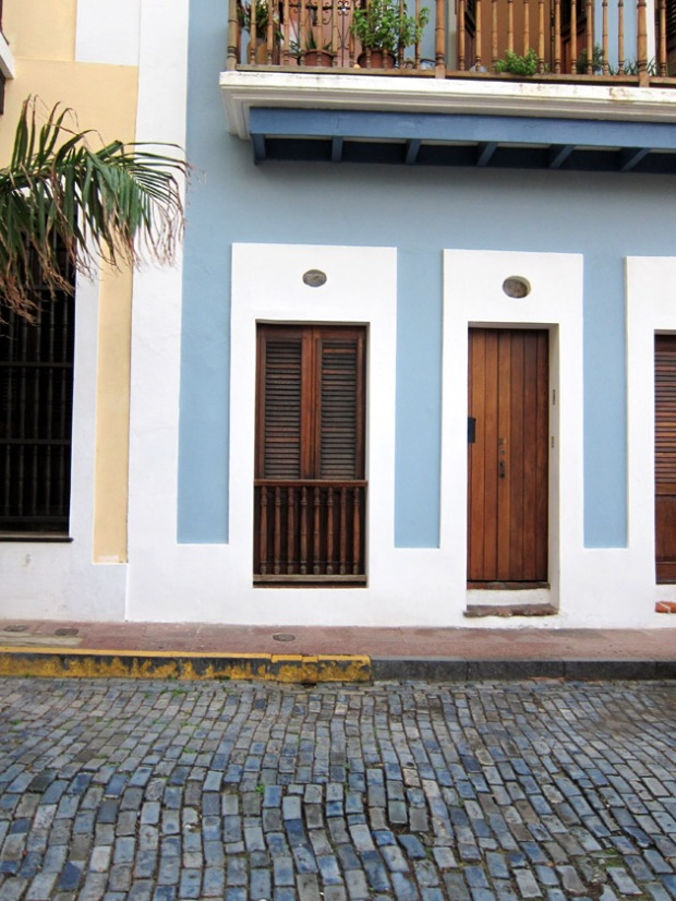 colorful house and blue tile street old San Juan